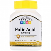 21st Century Folic Acid, 400mcg, 250 Tablets